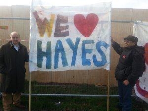 Lake Farm protest Nov 13 CD and Ilyas with banner