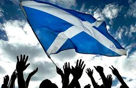 Scottish flag and hands