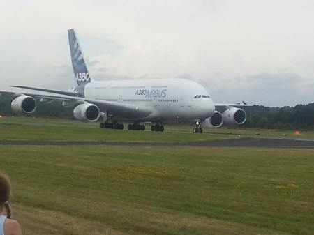 Airbus A380 on ground Farnborough 2014